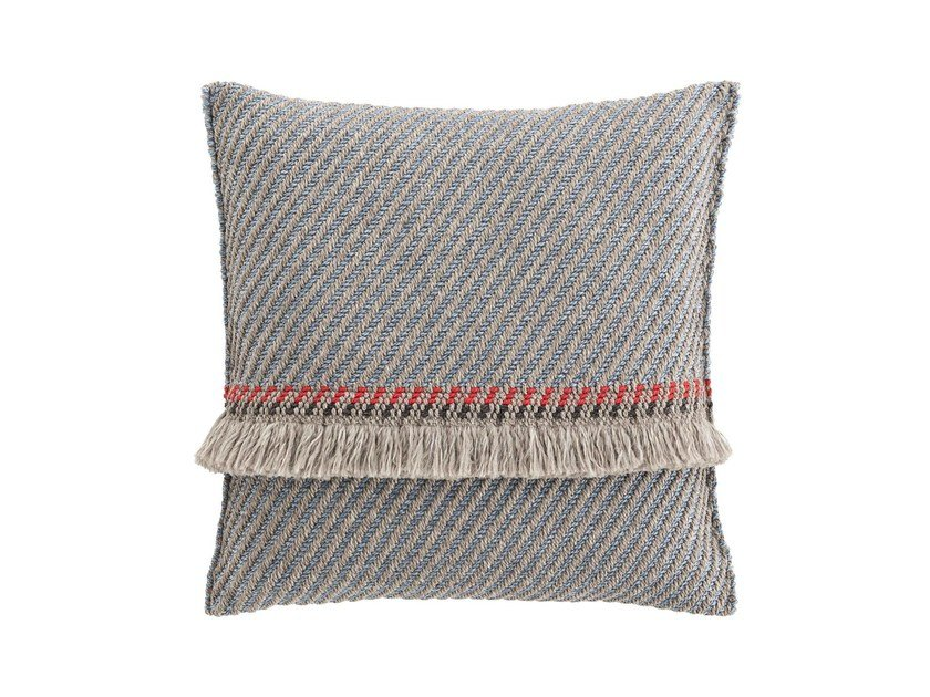 Striped square outdoor polypropylene cushion GARDEN LAYERS BLUE | Square cushion by GAN
