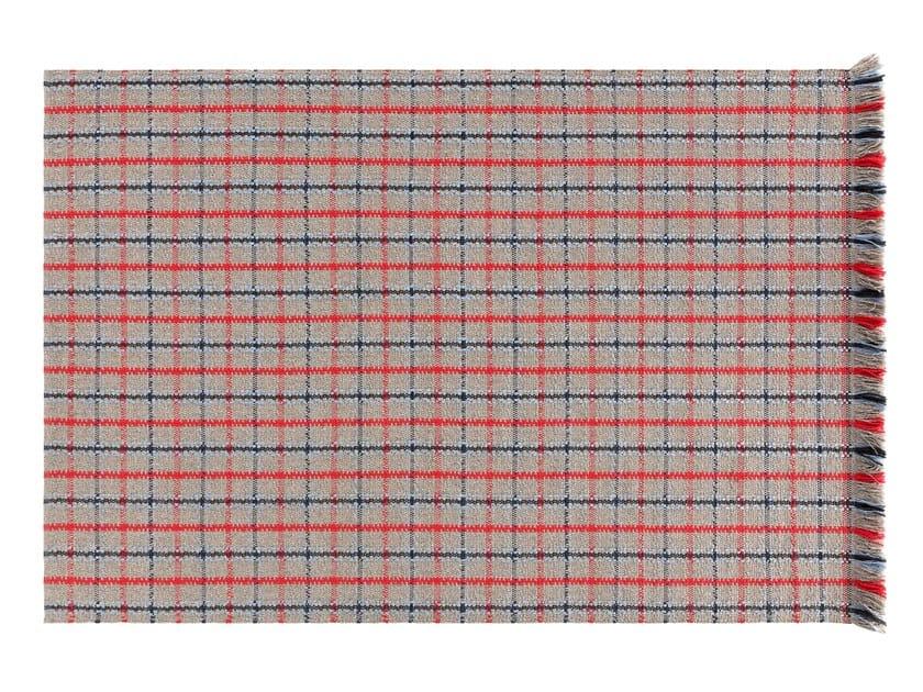 Rectangular polypropylene outdoor rugs with geometric shapes GARDEN LAYERS BLUE   Rectangular rug by GAN