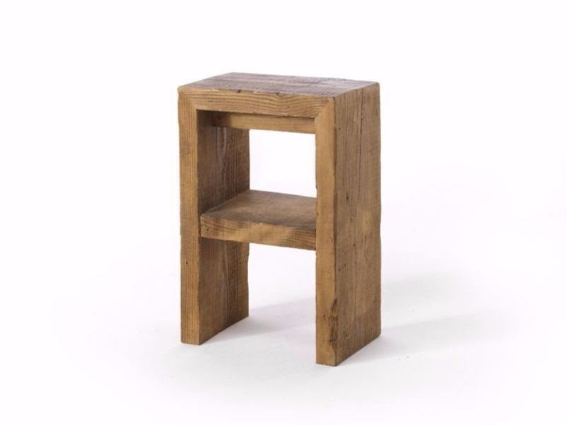 Low spruce stool with footrest GATSBY | Low stool - Vontree