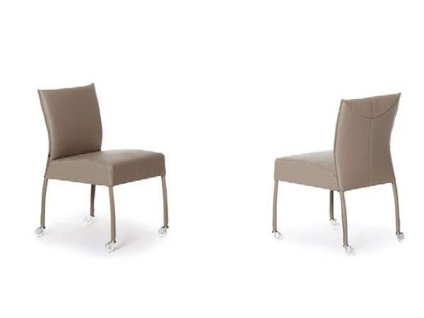 Upholstered leather chair with casters GAUGIN | Chair with casters - Joli