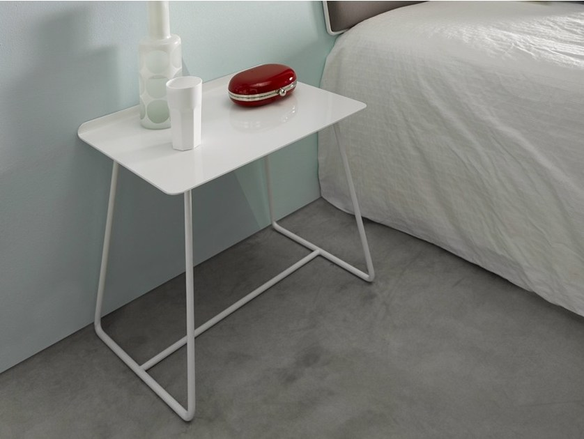 Lacquered rectangular painted metal bedside table GEMMA | Bedside table - Altinox Minimal Design