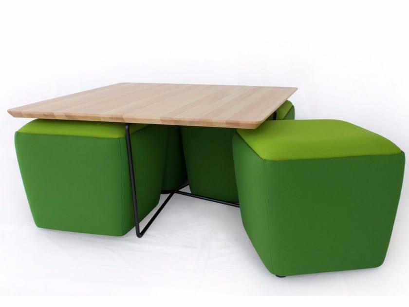 Upholstered fabric pouf GEMMA   Pouf - Altinox Minimal Design