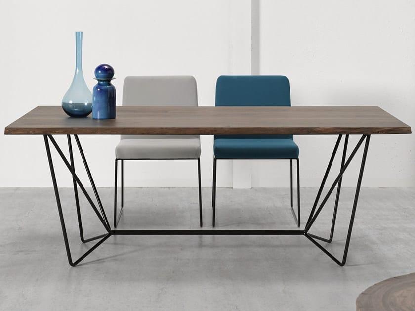 Rectangular steel and wood living room table GEMMA | Table - Altinox Minimal Design