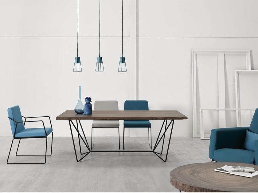 Tavolo rettangolare in acciaio e legno gemma tavolo for Tavolo legno acciaio