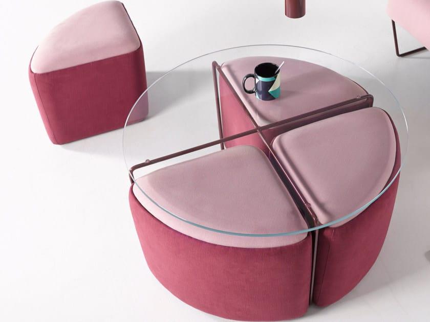 Upholstered fabric pouf GEMMA   Upholstered pouf - Altinox Minimal Design