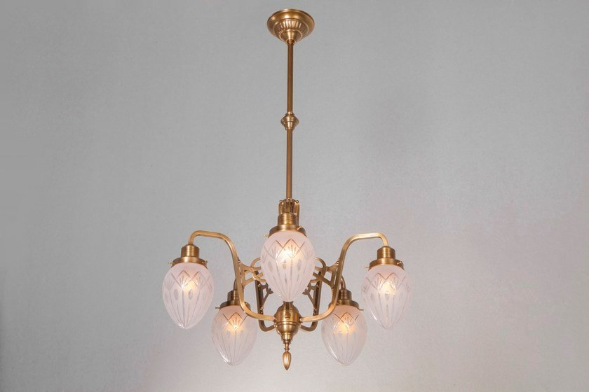 Direct light brass chandelier GENOA III | Pendant lamp - Patinas Lighting