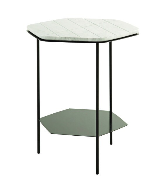 Marble side table with integrated magazine rack GEOM - ROCHE BOBOIS