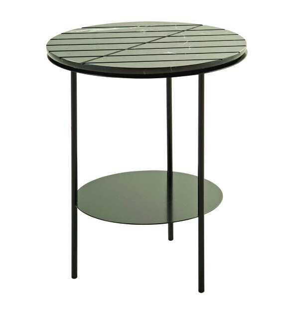 Round marble side table with integrated magazine rack GEOM | Round coffee table - ROCHE BOBOIS