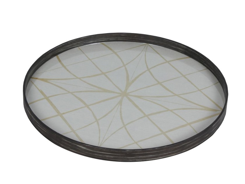 Round wood and glass tray GEOMETRY | Tray - Notre Monde