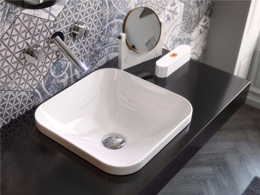 Inset square ceramic washbasin GIÒ EVOLUTION | Square washbasin - Hidra Ceramica