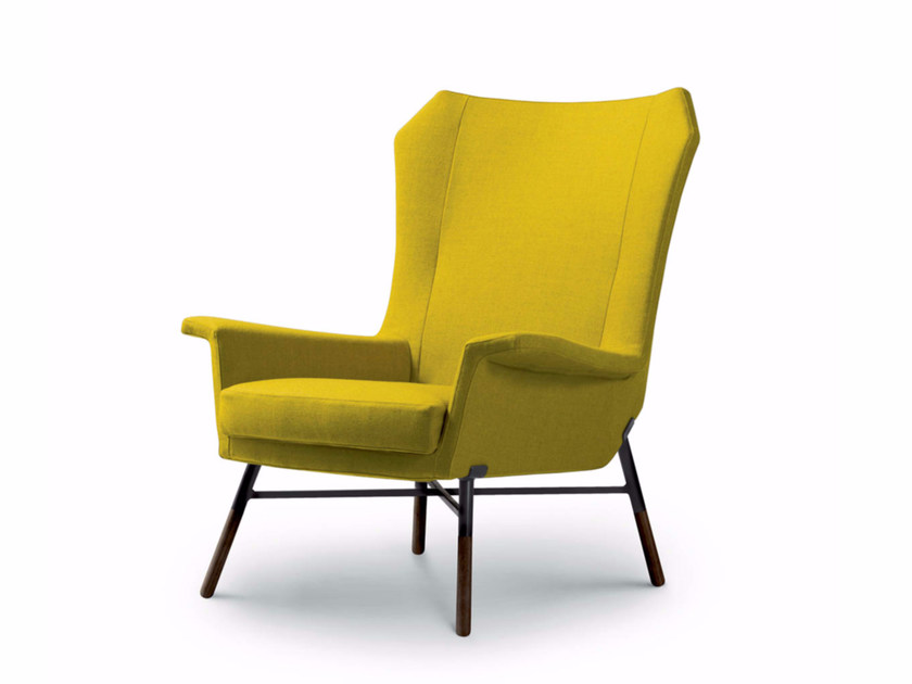 Upholstered fabric armchair with armrests GIULIETTA | Fabric armchair - arflex