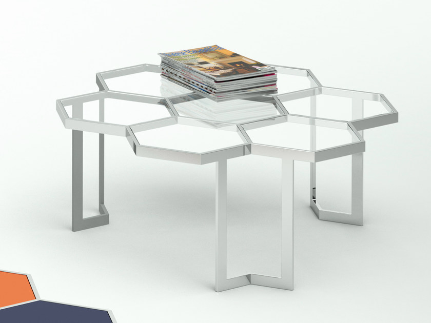 Low glass and steel coffee table HONEY | Glass and steel coffee table - Altinox Minimal Design