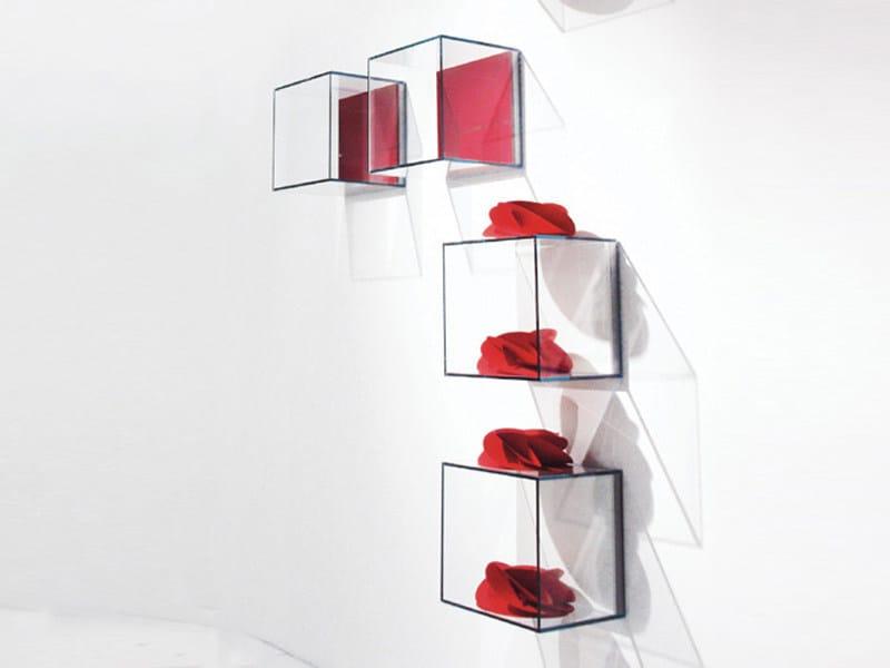 Open tempered glass wall cabinet GLASSBOX | Open wall cabinet - EmmeBi