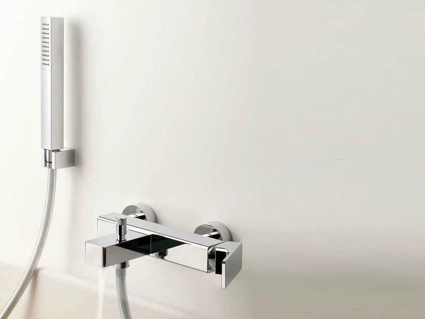 Wall-mounted bathtub mixer with hand shower GLITTER | Single handle bathtub mixer - RUBINETTERIE RITMONIO