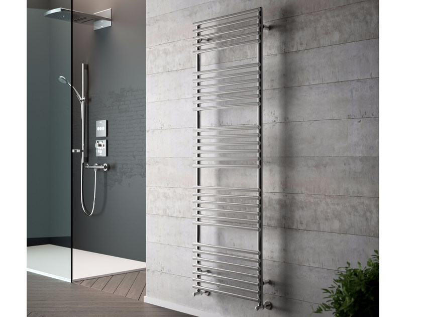 Vertical wall-mounted chrome plated steel towel warmer GLORIA | Chrome plated steel towel warmer by CORDIVARI