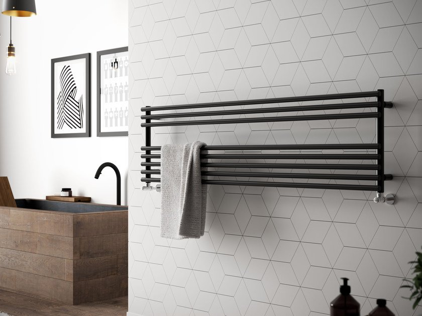 Horizontal wall-mounted powder coated steel towel warmer GLORIA WIDE - CORDIVARI