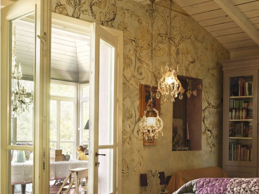 Panoramic wallpaper with floral pattern with marble effect GLORY by Inkiostro Bianco