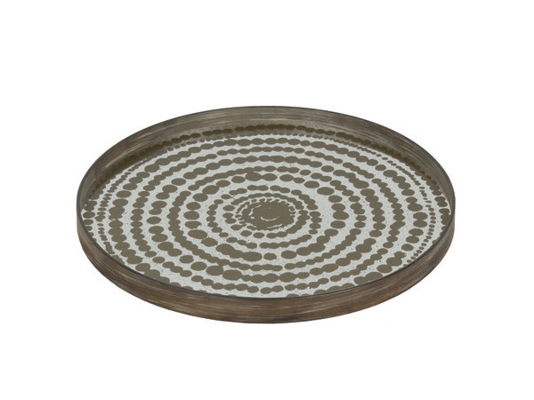 Round mirrored glass tray GOLD BEADS - Notre Monde