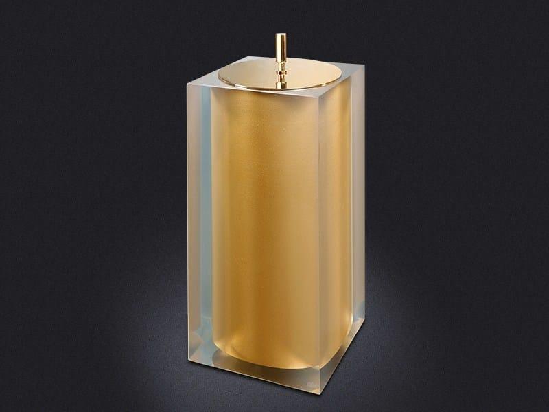 Resin bathroom waste bin GOLD GLOSS SMALL | Bathroom waste bin by Vallvé