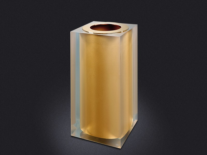 Pattumiera in resina GOLD GLOSS SMALL | Pattumiera in resina - Vallvé Bathroom Boutique