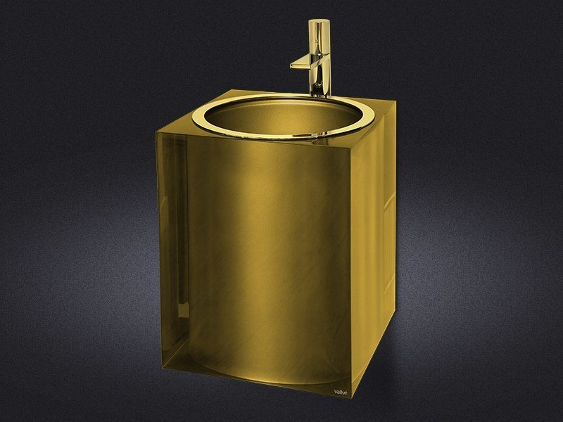 Wall-mounted resin washbasin GOLD GLOSS | Washbasin - Vallvé Bathroom Boutique