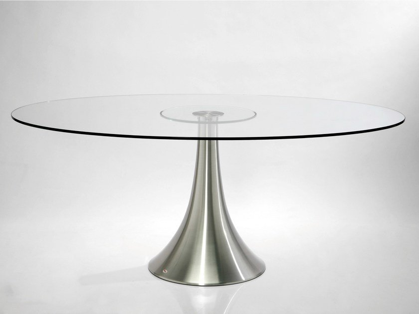 Round glass and aluminium table GRANDE POSSIBILITA - KARE-DESIGN
