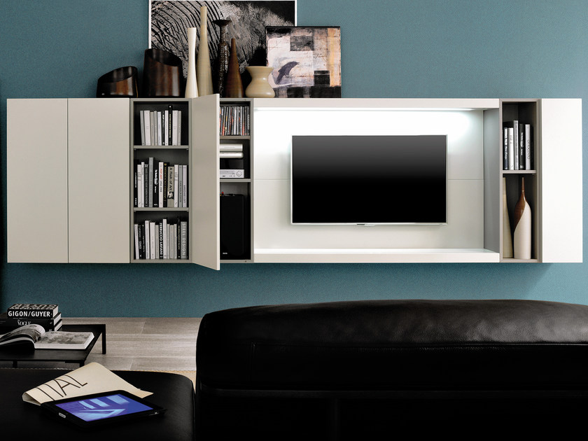 Sectional wall-mounted storage wall GRAPHOS WIDE | Storage wall with integrated lighting - Silenia