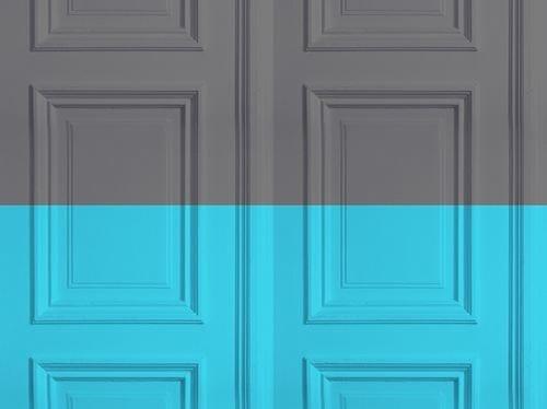 Motif wallpaper GREY-TURQUOISE PANELLING - Mineheart