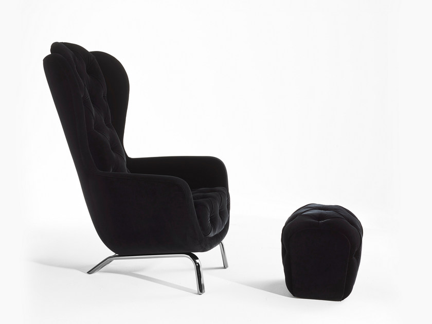 Bergere tufted velvet armchair with armrests GUELFO | Velvet armchair - Opinion Ciatti