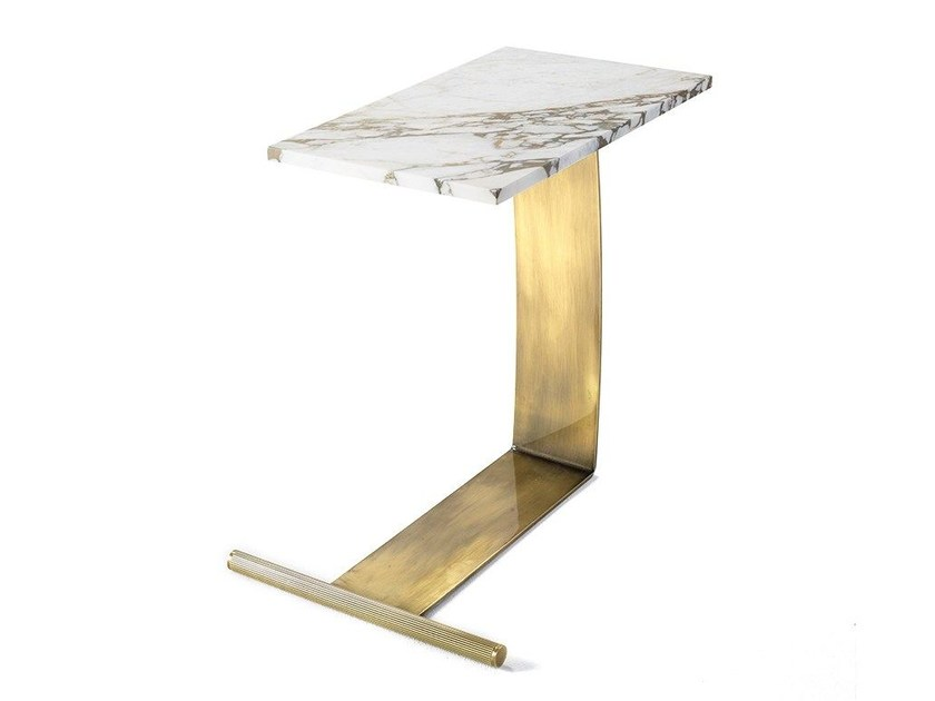 Carrara marble side table GUY | Coffee table by MARIONI