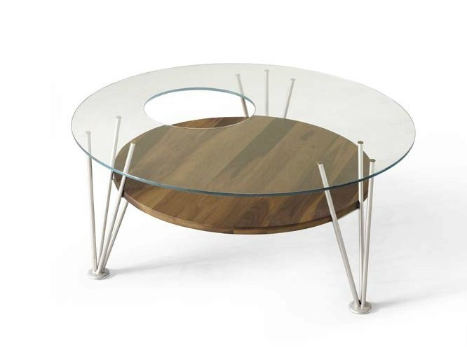 Round wood and glass coffee table H-121 | Coffee table by Dale Italia