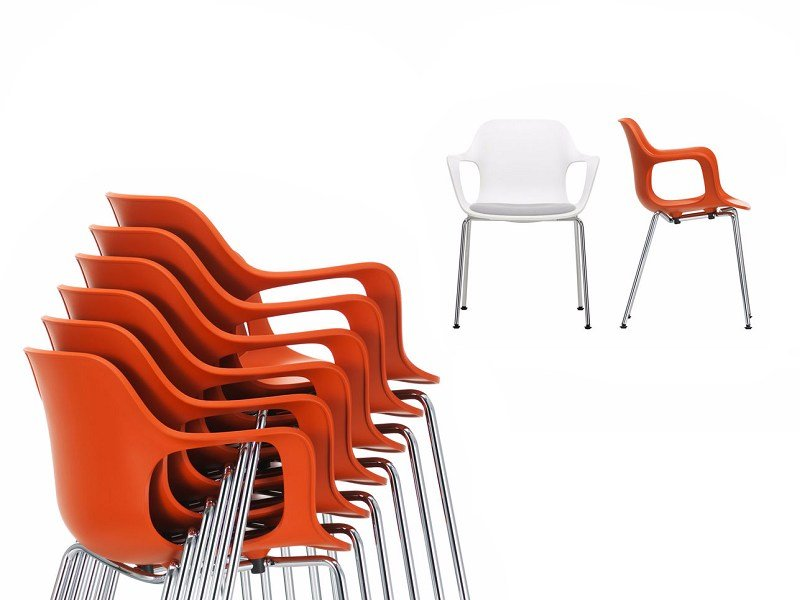Stackable chair with armrests HAL ARMCHAIR TUBE STACKABLE by Vitra