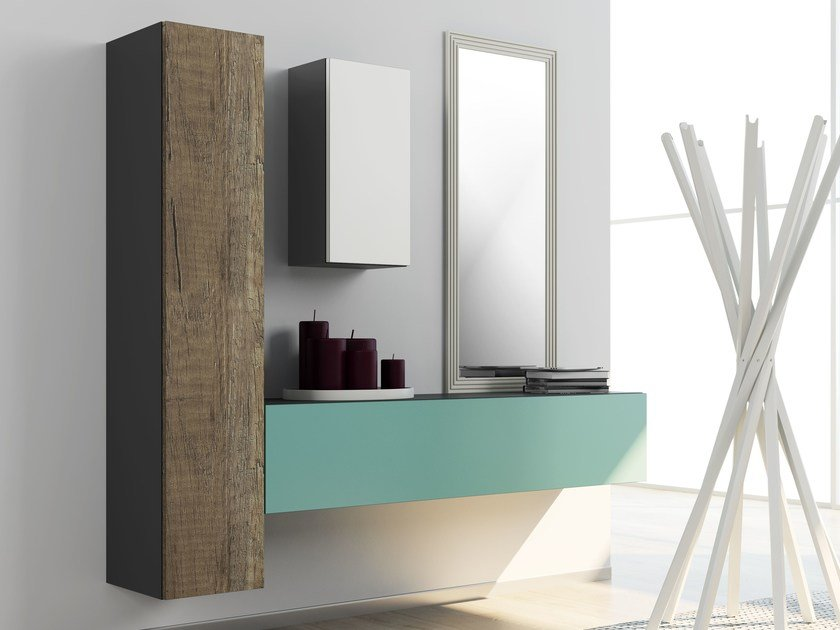 Wall-mounted laminate hallway unit DR•ØNE | Hallway unit - De Rosso
