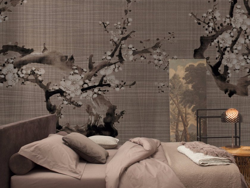 Panoramic wallpaper with floral pattern HANAMI - Inkiostro Bianco
