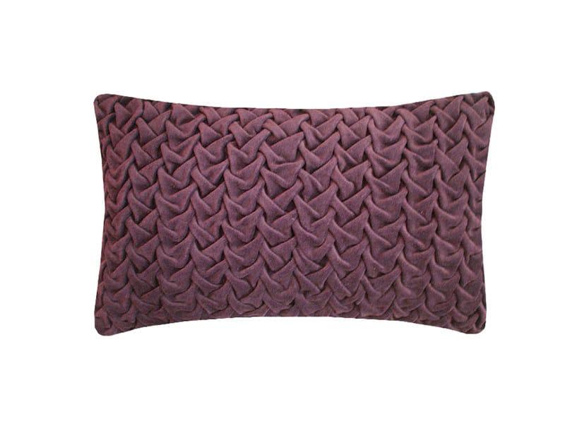 Rectangular hand embroidered cushion HAND STICHED LARGE WAVE EGGPLANT - Nitin Goyal London