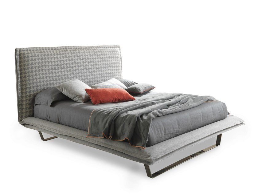 Fabric double bed with upholstered headboard HANDSOME LIGHT - Bolzan Letti