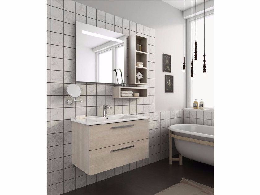 Wall-mounted vanity unit with drawers HARLEM H14 by LEGNOBAGNO