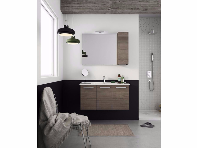 Wall-mounted vanity unit with doors HARLEM H19 - LEGNOBAGNO