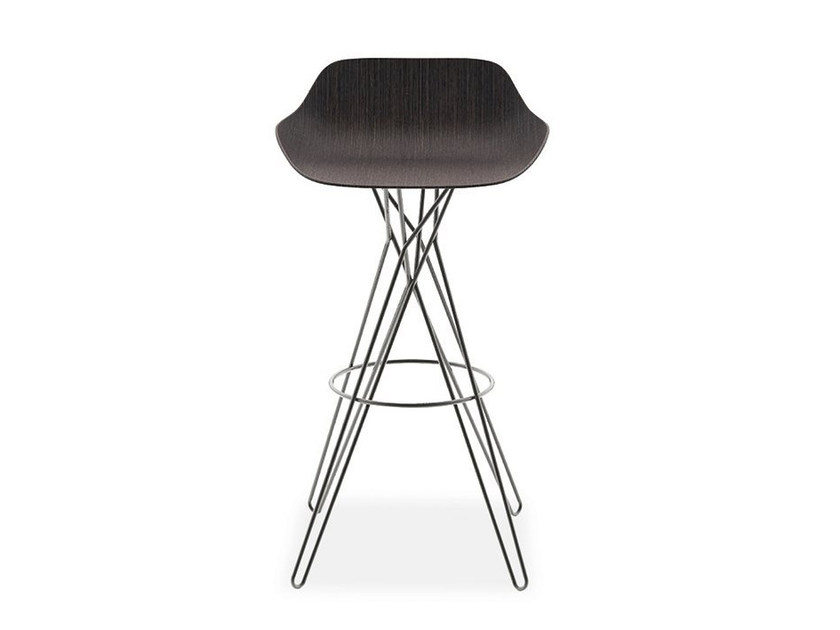 High trestle-based stool with footrest HARMONY | Stool - Poliform