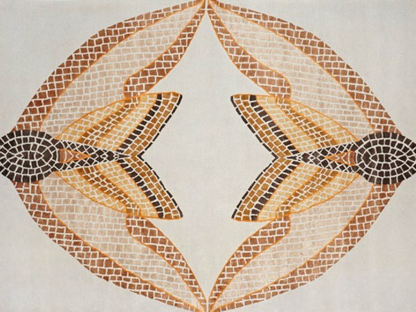 Handmade rectangular rug HAWK MOTH MOSAIC - Deirdre Dyson