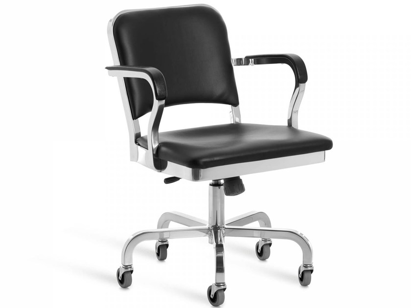Height-adjustable aluminium chair with casters NAVY® UPHOLSTERED | Height-adjustable chair by Emeco