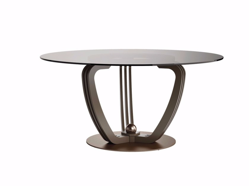 Round crystal and steel table HELIX | Crystal and steel table - Caroti