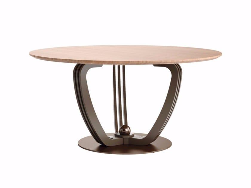 Tavolo rotondo in acciaio e legno HELIX | Tavolo in acciaio e legno by Caroti