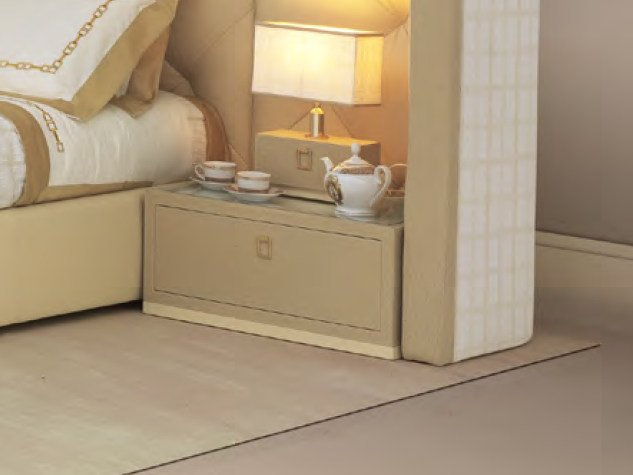 Rectangular leather bedside table with drawers HELLEN | Bedside table - Formitalia Group