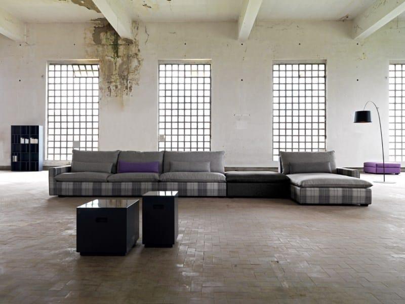 Fabric sofa with chaise longue HENRI   Sofa with chaise longue by Domingo Salotti