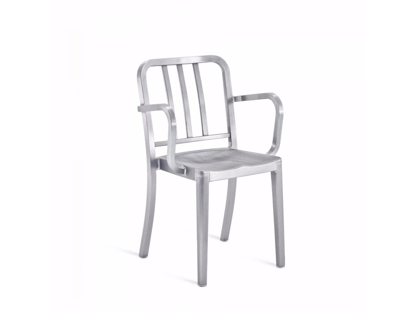Stackable aluminium chair with armrests HERITAGE | Chair with armrests by Emeco