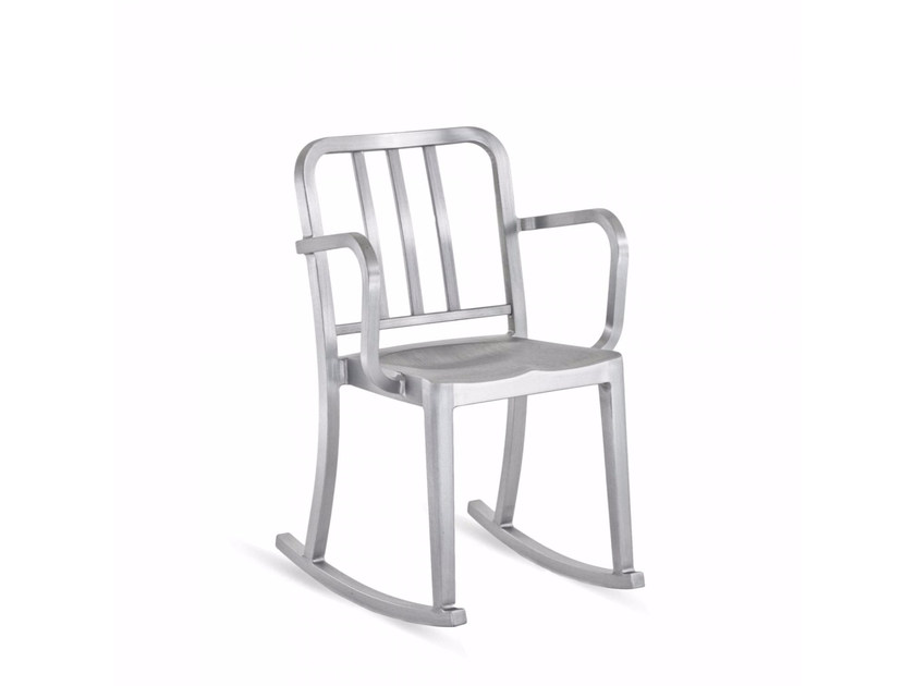 Rocking aluminium chair with armrests HERITAGE | Rocking chair by Emeco