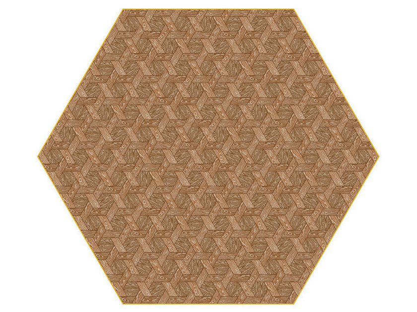 Rug with geometric shapes HEXAGON BROWN - Moooi©