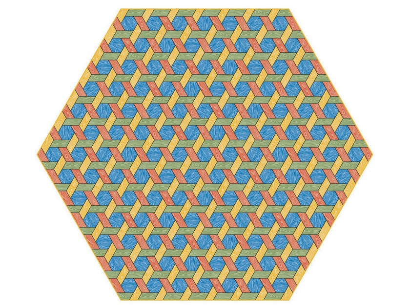 Rug with geometric shapes HEXAGON MULTI - Moooi©