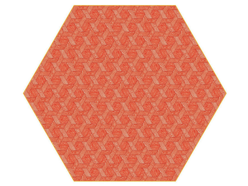 Rug with geometric shapes HEXAGON RED - Moooi©